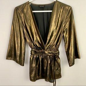 Topshop gold black metallic shimmering top size 6